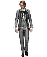 trajes de ajuste italiano al por mayor-Venta al por mayor- 2016 padrinos de boda italianos traje por encargo vestido formal hombres trajes de boda Novios Tuxedos para hombres 3 piezas traje Slim Fit