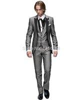свадебное платье оптовых-Wholesale- 2016 Italian Groomsmen Suit Business Custom Made Formal Dress Men Wedding Suits Groom Tuxedos For Men 3 Piece Suit Slim Fit
