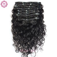 Wholesale Indian Hair 8pcs - Clip in Human Hair Extensions Water Wave Brazilian Virgin Human Hair Extensions Clips Ins 8pcs Set for Whole Head Free Ship