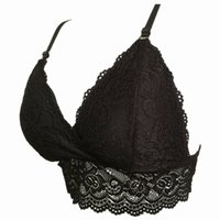 black lace bandeau - New Fashion Intimates Full Lace Bra Crop Top Tank Camisole Bandeau Sexy Padded Bra Wire Free Triangle Bra Removable Pads H187