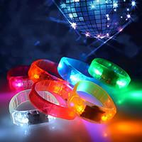 Wholesale Female Voice - 2017 LED Voice-control Bracelet Glo-sticks Electronic LED Flashing Bracelet Glow Bracelets LED Wrist Band Christmas
