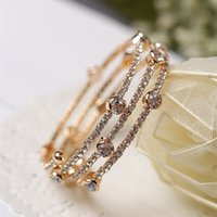 Wholesale Hot Shiny Girls - Europe and America Hot Fashion Gold Silver Color Shiny AAA Rhinestone Bracelet Bangle for Girls Women for Party Wedding
