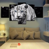 Wholesale Tiger Canvas Wall Art - Unframed 5 pcs set Blue-eyed White Tiger Canvas hand-painted Oil Painting On Canvas Home Decor Art Wall Picture For Living Room