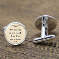 Wholesale Cufflink Silver Plate - 10pairs lot Bible cufflinks, my beloved is mine and i am his print Photo Christian cufflinks
