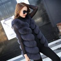 Wholesale Ladies Genuine Fur Jackets - Autumn Winter Women Real Fox Fur Vest Female Genuine Fox Fur Coat Leather Jacket Warm Lady Gilet Natural Fox Fur Waistcoat