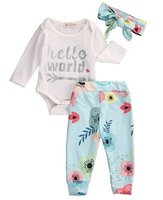 Wholesale Wholesale Girls Clothing Uk - Wholesale- Infant Baby Girl Long Sleeve Romper Floral Leggings Headband Outfits Clothes UK Floral Outfits