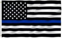 Wholesale Wholesale United States America - The U.S.A Thin Blue Flags Blue Black America National Flag 90*150cm United States Banner U.S. Oriflamme New 4 5qta R