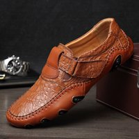 Wholesale South Korean Style Men - Hot style 2017 men's crocodile skin large - size soybean shoes south Korean edition octopus fish casual leather shoes