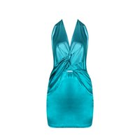 Wholesale Dark Green Pencil Skirt - Dark green strapless V neck front backless polyester sexy club dresses for party evening dress skirt