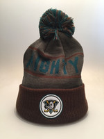 Wholesale Cuffed Pom Beanies - 2 Styles MIGHTY DUCKS Knit Football Beanies Quality Winter Cap Skullies Ice Hockey Pom Embroidery Cuff Caps