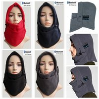 Wholesale Face Tie - 4 Colors Warm Bluetooth Hat Bluetooth Windproof Caps Warm Wearing Earmuffs Hat Hifi Stereo Balaclava Face Mask CCA7456 10pcs