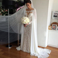 Wholesale Crochet Made - 2018 Hot Sale White ivory Chiffon Wraps Appliques Lace Wedding Jacket Bridal Cloak Lace Bridal Dress's Cape