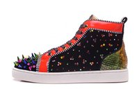 Wholesale Colorful Womens Shoes - Red Bottom Sneakers Multi color Rhinestone Luxury Designer Patent Leather High cut Sneakers Colorful Spikes Mens & Womens Casual Shoes