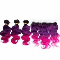 ombre malaysian purple hair 도매-레이스 정면 폐쇄 1B와 함께 말레이시아 Ombre 헤어 번들 레이스 정면 다크 루트와 보라색 핑크 Ombre 머리 보라색 핑크 Ombre 머리 정면