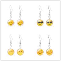 Wholesale Earrings Faces - HOT QQ Expression Emoji Tassel Dangle Earrings for women 13 Styles Time Gem Eardrop Women Fashion Jewelry High Quality Free Shipping