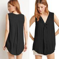 Wholesale Chiffon V Neck Black Shirt - Wholesale-Fashion Sleeveless Summer T-Shirts Loose Irregular Hem V Neck Chiffon tops for Women Vest yellow black plus size LJ3858E