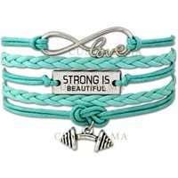 Wholesale leather cord wraps - Custom-Infinity Love Strong is beautiful Barbell Charm Fitness Wax Cord Wrap Braided Leather Adjustable Bangles Christmas Gift-Drop Shipping