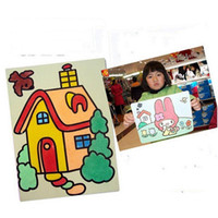 Wholesale Building Paintings - Wholesale- 5pcs lot Mini Building Sand Painting Puzzle DIY learning & education Classic toys for children Gifts 16x12cm