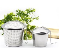 Wholesale Wholesale Teapots Accessories - New Tea bucket Infuser Stainless Steel Pot Set Infuser Sphere Mesh Tea Strainer Handle Ball Teapot Accessories 15x