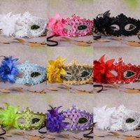Wholesale Gold Masquerade Masks Flowers - Venetian Half face Flower Feather Party Mask Masquerade Party on stick Mask Halloween Christmas Dance Party Festival Mask Supplies CPA917