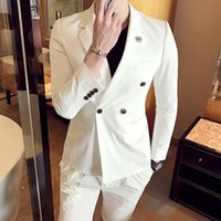 2017 Double Breasted Suits Herren Slim Fir Blue Red Tuxedo Jacken Weiß Anzüge Herren Parfüm Masculino Anzüge Short Men Club Outfits