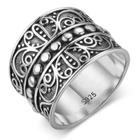 Wholesale mysterious rings - 925 Sterling Silver Female Rings With 15.5MM Wide Mysterious Pattern Rings Engagement Rings Wedding Jewelry