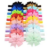 Wholesale Elastic Hair Headbands Girls - Baby Girls 4.3 Inch Ribbon Bow Headbands Infant Big Bowknot Elastic Hair Accessories Kids Hairbands Fashion Princess Headdress 20 Colors