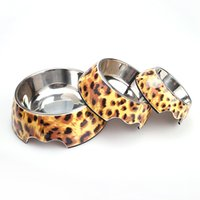 Wholesale Bowl Dog Designs - PuppyStainless Steel Pet Food & Water Bowl Modern Leopard Design Pet Dog cat Bowl Feeder Products Free Shipping