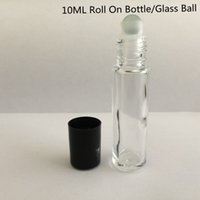 Wholesale Empty Roll Plastic - 10 Ml 1 3Oz Glass Bottle Roll On Empty Fragrance Perfume Essential Oil Bottle Glass Roller Roll-On Black Plastic Cap Bottle