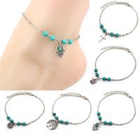 Wholesale Green Anklet - 6 Styles Bohemian turquoise Anklets women beach foot chains cross Tree Turtles conch Fatima's hand Anklet For ladies Fashion Jewelry