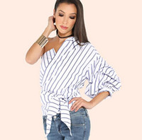 blouse tie waist - 2017 Fashion Summer Striped Women Blouses One Shoulder V neck Half Puff Sleeve Casual Shirts Women Bow Ruffle Tie Waist Slim Tops