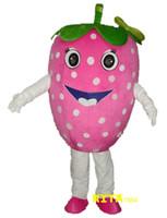 traje de morango venda por atacado-Rosa Morango Traje Da Mascote Adult Fruit Costume Frete Grátis