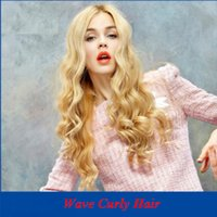 Wholesale 28 Inch Curly Synthetic Wigs - Fashion blonde curly hair 28 inch lace front fake wig for women's styles kinky curly synthetic wigs DHL bea445
