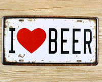 Wholesale Antique Wall Murals - Metal Tin Signs I LOVE BEER Wall art craft Iron Retro metal painting Tin Signs 15x30cm Plaques Mural XD-1250 wall pictures