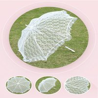Wholesale Umbrellas Wholesale Beautiful - Lace Embroidered Parasol White Umbrella Beautiful Photo Props Vintage Wedding Umbrellas Accessories For Bride Groom and Guest