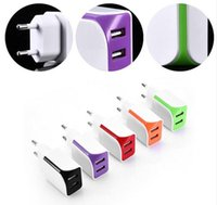 Wholesale Double Usb Wall Charger Iphone - New Double USB 5V1A EU US Plug AC Charger Universal Portable Travel Wall Adapter for Samsung Iphone 5 6s 7 plus Mobile Phone