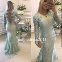 Wholesale Mint Dresses For Maternity - Gorgeous 2017 Mint Prom Evening Dresses Mermaid Jewel Illusion Lace Back Long Sleeves Formal Celebrity Gowns Dress for Party