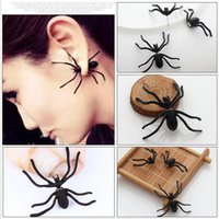 Wholesale Costume Clip Earrings Wholesale - Fashion Punk Halloween Black Spider Charm Ear Stud Earrings Evening Gift For Party Halloween Costume Novelty Toys For Girls Free Ship HST100
