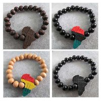 Wholesale Africa Wood - 4pcs  lots Mixed Colors Good wood hiphop hip-hop african  africa map fashion bracelets wholesale