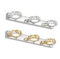 espejos de baño largos al por mayor-K9 lámpara de espejo de cristal redondo baño luces 16/32/46 / 62cm largo Champagne / blanco LED aplique de pared aplique de pared