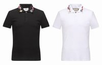 Wholesale Collared Sports Shirts - 2017 Italy Luxury Fashion Brand Snake Embroidery collar Snakes Little bee Men short polo shirts Men's cotton sports shirts Homme M - 3XL