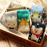 Wholesale Cute Women Girls Socks - Wholesale- 10pairs=1 lot Winter Cute Cartoon Animais Colorful Kawaii Women Socks Wool Art Fuzzy Tube Warm Girls Casual Socks MF74851