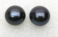 Wholesale Match Pair Genuine AAA mm Blue Black Loose Half Drilled Cabochon Pearl
