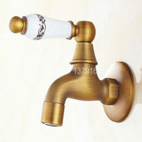 Wholesale Bronze Single Hole Faucets - Wholesale- Vintage Antique Bronze One Ceramic Flower Pattern Handle Kitchen faucet wall mounted Laundry bathroom Mop Water Tap aav134