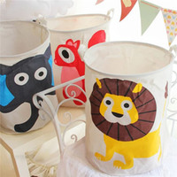 Wholesale Toy Storage Bin Fabric - Cartoon Storage Baskets Bins Kids Room Toys Lion Monkey Storage Bags Bucket Clothing Organizer Laundry Bag Organizer Laundry Bucket 0703152