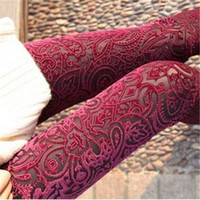 Wholesale Woman See Leggings - Wholesale- 2016 New Casual Fashion Women Leggings Pants Sexy Vintage Skinny Floral Lace Velvet See Through Elastic Stretch High Waist Pants