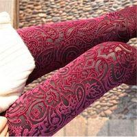 Wholesale Vintage Floral Pants - Wholesale- 2016 New Casual Fashion Women Leggings Pants Sexy Vintage Skinny Floral Lace Velvet See Through Elastic Stretch High Waist Pants