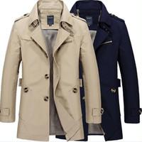 militärischer modemantel für männer großhandel-Mode-stilvolle Männer Trenchcoat 2017 Frühling Männer Vintage Military Mantel lange schlanke Mann Graben Jacken Kostenloser Versand