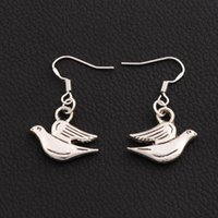 Wholesale Dangle Peace - Peace Dove Earrings 925 Silver Fish Ear Hook 30pairs lot Tibetan Silver Dangle Chandelier E184 33x20mm