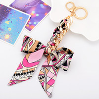 Wholesale Bowknot Scarfs - Fashion Accessories Scarves Key holder Bowknot Exquisite Decoration Tassels Keychains Women Bag Charm Keychains Jewelry Pendant